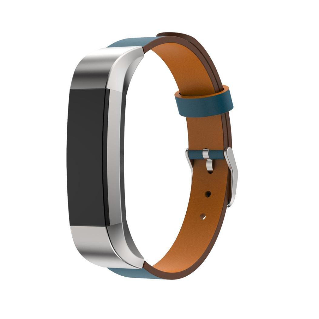 Creazy交換用レザーバンドストラップブレスレットfor Fitbit ALTA HR Smart Watch ブルー fe8h B06XZZXM8C ブルー ブルー