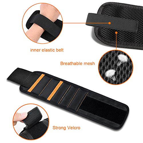 Jusale Magnetic Wristband Adjustment Strong Tool Belt with 2 Pockets for Holding Screws Nails Drill Bits