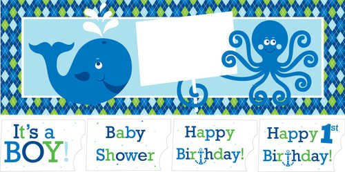 Giant Birthday Party Banner with Stickers, Ocean Preppy Boy ()