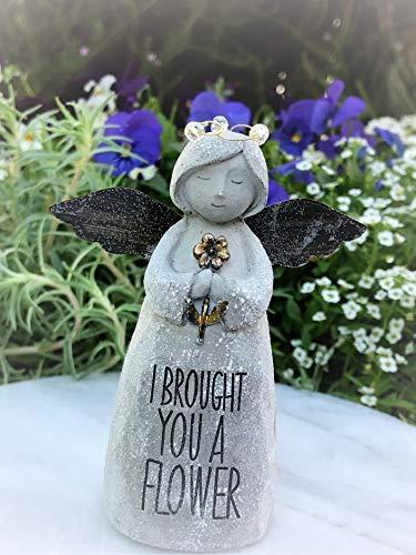 Miniature Figurine Mini Sentiment Angel I Brought You a Flower - Miniature Magic Scene Supplies Your Fairy Garden - Outdoor House Decor