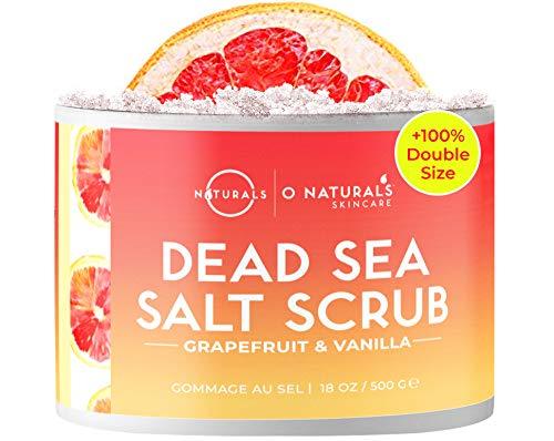 O Naturals Exfoliating Dead Sea Salt Grapefruit Essential Oil Face Body & Foot Scrub. w/Vanilla &. Hydrating Exfoliate Dead Skin, Best Anti Cellulite Acne Ingrown Hairs Corns, Men & Women Scrub 18oz
