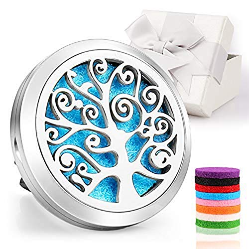 Car Diffuser,Jack & Rose Car Diffuser Essential Oil Car Vent Clip Air Freshener Purifier,Stainless Steel Aromatherapy Locket with 8 Washable Color Pads Christmas Gifts for Women