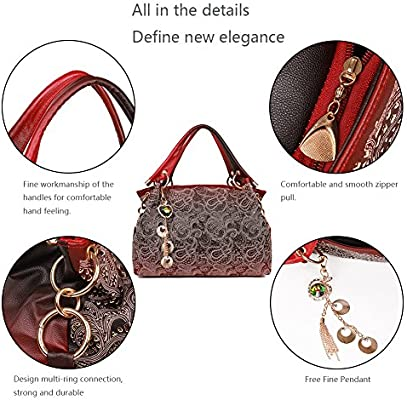 EGOGO Leather Ladies Shoulder Bag Hollow Tote Bag for Womens Hobo Handbags E522-1