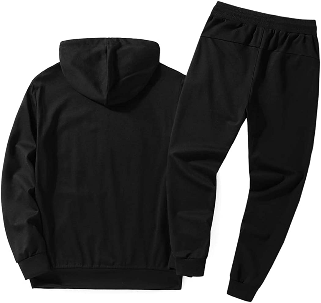 Real Spark Mens Athletic Pullover Hooded Sweat Suit Casual Jogging Sports Tracksuit