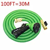 100 FT Garden Hose,Businda Flexible Expanding Compact & Collapsible Garden Kits Water Spray Lawn Sprinkler Car Wash Water Gun Ajustable Hose Nozzles 8 Pattern High Pressure Power Washer