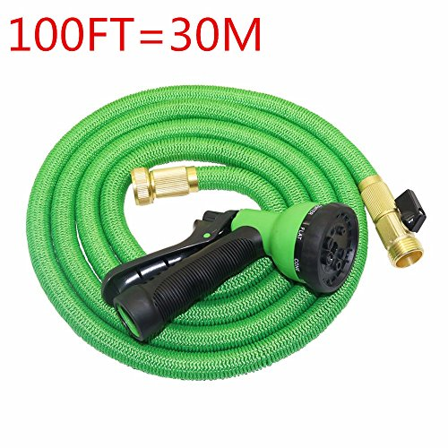 TechCode Expandable Garden Hose, 100ft Strongest Expanding Garden Hose on the Market With All Brass Connectors, 8 Pattern Spray And High Pressure, Expanding Garden Hose for All Watering Needs(Green)