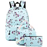 Teens Backpacks For School Girls bookbags Cute Backpack Sets Water Resistant School Bag (Light Blue)