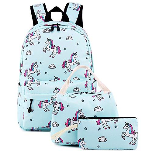 Teens Backpacks For School Girls bookbags Cute Backpack Sets Water Resistant Unicorn School Bag (Light Blue))