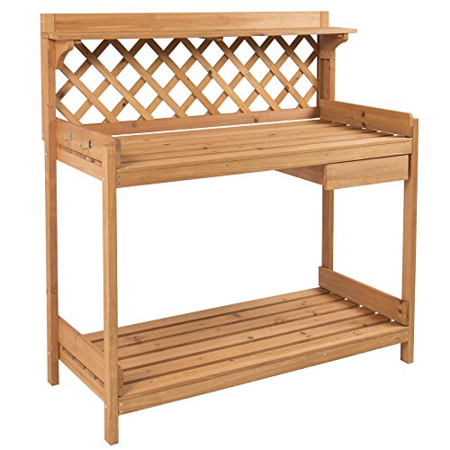 Potting Bench Outdoor Garden Work Bench Station Planting Solid Wood - Garden Free Plans Bench