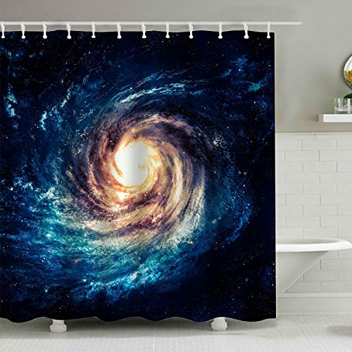 BROSHAN Space Decoration Shower Curtain Set,Spiral Galaxy Starry Night Milky Way Cosmic Mysterious Space Art Print Polyester Waterproof Fabric Bathroom Accessories with Hooks (Spiral Shower Curtain)
