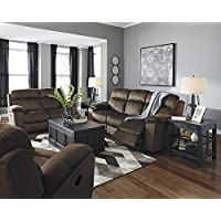 Uhland Contemporary Microfiber Chocolate Color Power Reclining Sofa And Loveseat, Recliner With Adjust Headrest