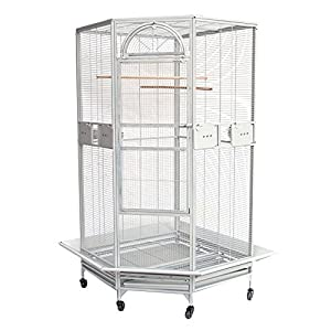 New Large Corner Cage For Cockatiel Parakeet Budgies Parrot With Metal Seed Skirts 10023 White Vein 96