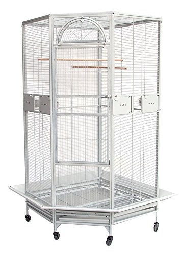 New Large Corner Cage For Cockatiel Parakeet Budgies Parrot With Metal Seed Skirts 10023 White Vein
