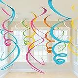 Party2u - Decorazioni a spirale pendenti, 12 pezzi, colore: rosa