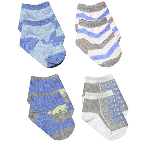 Baby Essentials Boys Blue Elephant Grey Monkey Chevron Sneaker Socks 4 Pack 0-6 mth