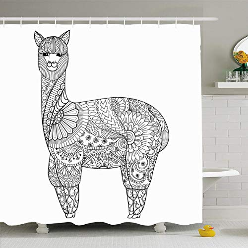Ahawoso Shower Curtain 66x72 Inches Coloring Farm Alpaca Zentangle Book Adult Abstract Funny Safari Zoo Antique Artistic Design Domestic Waterproof Polyester Fabric Set with Hooks ()