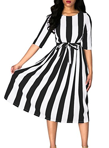 Dokotoo Womens Ladies Summer Casual Fashion 2017 Stripe Print Belted High Waist A Line Swing Midi Dresses Black Large