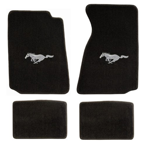 - Fits 1994-2004 Ford Mustang Black Front and Rear Floor Mats - Silver Running Horse