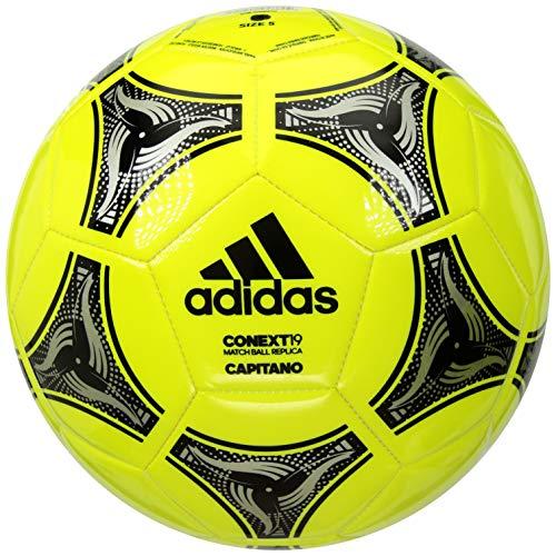 adidas Conext 19 Capitano Soccer Ball, Solar Yellow/Black/Silver Metallic, 5