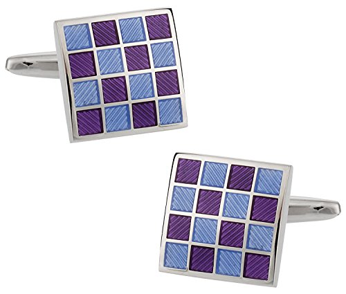 (Cuff-Daddy Purple Blue Checkerboard Enamel Cufflinks with Presentation)