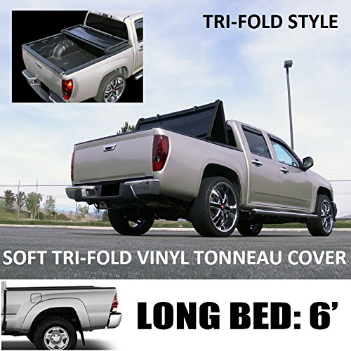 "VXMOTOR Tri-Fold Soft Vinyl Truck Bed Topper Cap Tonneau Cover 2016-2017 Toyota Tacoma 6 Ft 72"" Long Bed Access / Double Cab Fleetside"