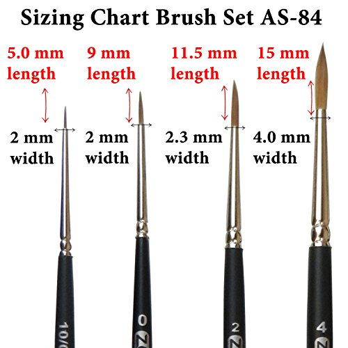 ZEM Brush Kolinsky Pure Sable Artist Brush Set Detail Sizes 10/0,0,2,4