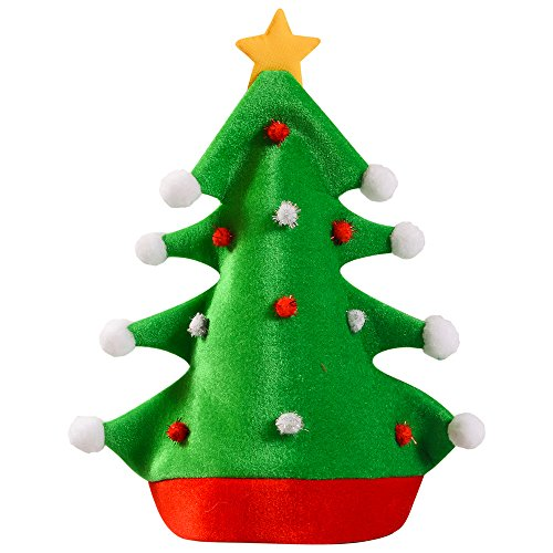 [Christmas Hat - Adult Christmas Tree Hat - Novelty Hats Funny Party Hats] (Crazy Christmas Hats)