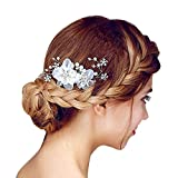 Happy Hours - Handmade Bridal Hair Flower Side Comb Barrette Headpiece Hairpins with Tulle Flower Wedding Accessories(Style B, White)