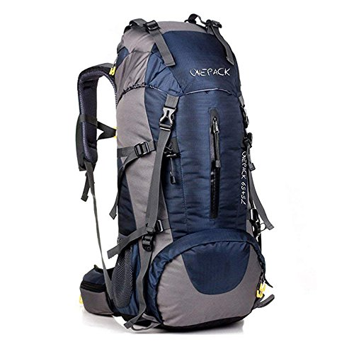 ONEPACK 70L Internal Frame Hiking Backpack with Rainfly (65+5L) Backpacking Bag with Waterproof Rain Cover for Mountaineering Outdoor Travel-Deep Blue