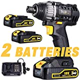Impact Driver, TECCPO Cordless Impact Driver 18V, 2 Batteries 2.0Ah, Variable Speed, 2900RPM Max Speed and 4000BPM, 30min Fast Charger, 6.35mm Quick Chuck, 180Nm - TDID01P