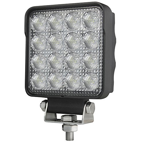 Primelux 4-inch 3000lm Square LED Work Light for Forklifts Tractors Farm Machines Mining Equipment UTV ATV Off Road Trucks 4x4 4WD Vehicles- Osram LED Chip Flood Beam– (Single)