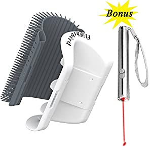 Bestanx 2.0 Cat Self Groomer Wall Corner Massage Comb with Catnip, Perfect Massager Tool for Cats with Long & Short Fur (Grey)