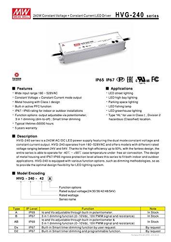 Mean Well Original HVG-240-42B Constant Voltage Constant Current LED Driver 42V 5.7A 240W