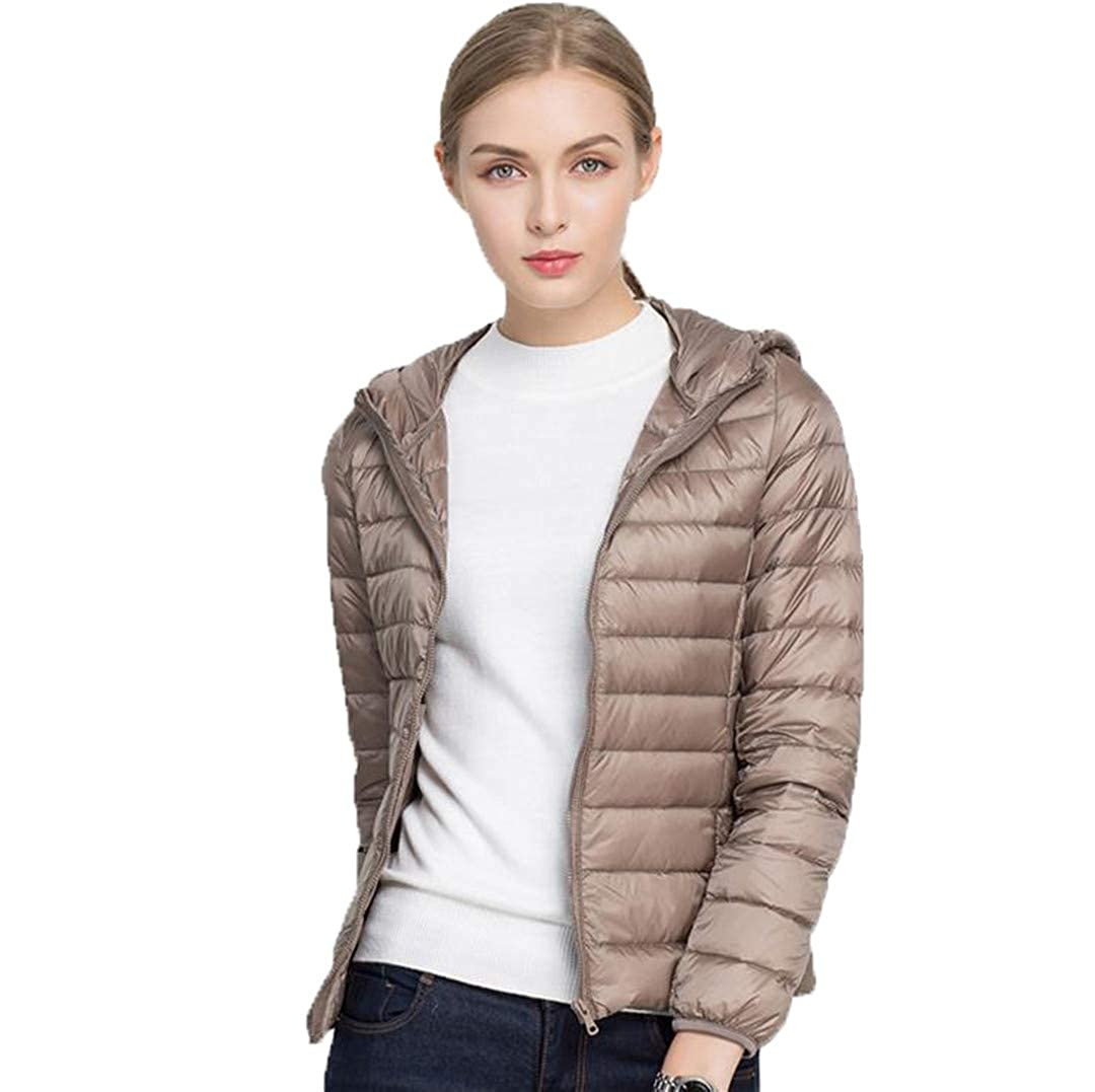 Khaki BiBOONES Winter Women's 90% Duck Down Hooded LongSleeved Warm UltraLight Down Jacket