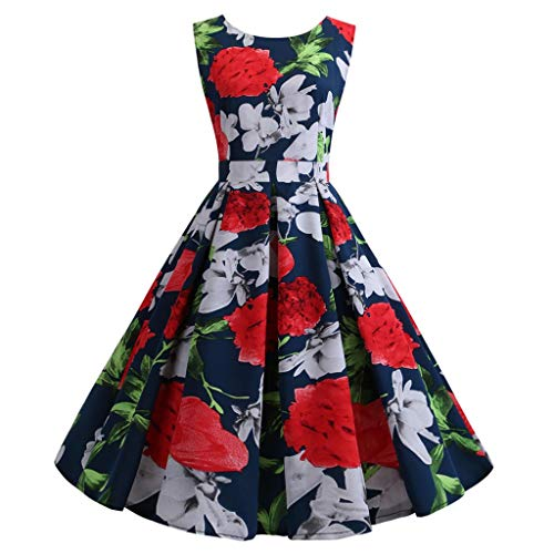 NEARTIME Women's Vintage Dress Fashion Sleeveless Print Casual Dress O-Neck Pleated Evening Party Prom Swing ()