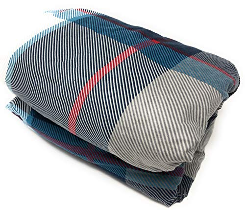 Maymarg Bedding%100 Cotton Heavyweight Flannel Plaid Fitted Sheet (Light Blue Plaid, Queen)