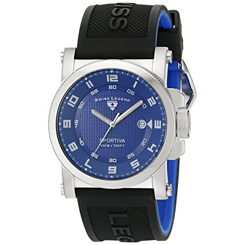 Swiss Legend Men's 40030-03 Sportiva Blue Textured Dial Black Silicone Watch