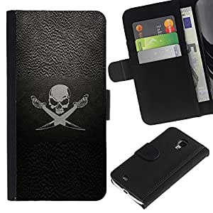 KLONGSHOP / Tirón de la caja Cartera de cuero con ranuras para tarjetas - Pirate Symbol Sign Skull Swords Ship Sail - Samsung Galaxy S4 Mini i9190 MINI VERSION!