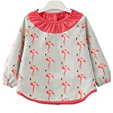 F&C Lovely Toddler Baby Long sleeve Waterproof Sleeved Bib (Crane, 3T(90-100CM))