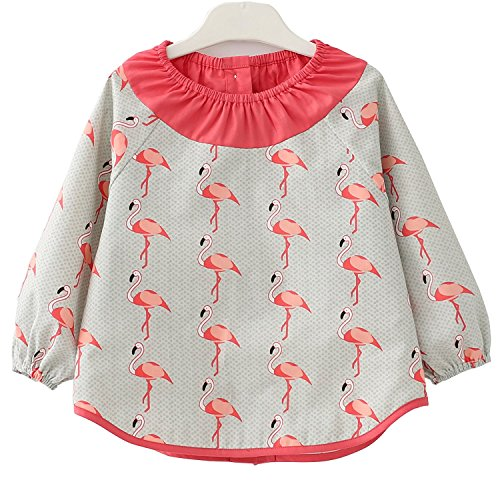 F&C Lovely Toddler Baby Long sleeve Waterproof Sleeved Bib(Crane, 4T(100-110CM))