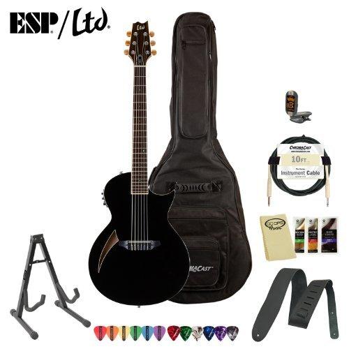 ESP LTL6BLK LTD TL Series TL-6 Acoustic-Electric Guitar with Accessories and Gig Bag, Black