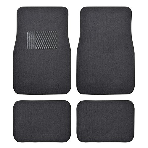 (BDK Classic Carpet Floor Mats for Car & Auto - Universal Fit -Front & Rear with  Heelpad (Charcoal) - MT100CC )