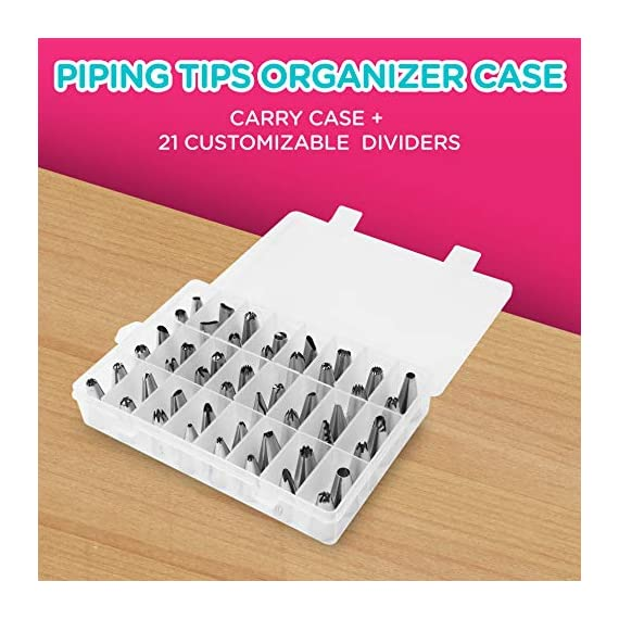 135-Piece Premium Cake Decorating Supplies Kit - Includes Cake Turntable Stand, 55 Numbered Icing Tips, 4 Piping Couplers, 1 Silicone Pastry Bag, 50 Disposable Pastry Bags & Many More Decorating Tools 4 ✔ LARGE ULTIMATE CAKE DECORATING KIT: KuchePro offers the largest cake decorating supplies set you can buy with a whopping 135 pieces. Whether you a casual weekend cake baker or a professional with your own TV show, our set has everything you will need. We want to provide you with all the essential top-quality cake decorating tools at a great value. ✔ OUR CAKE DECORATING SUPPLIES SET HAS IT ALL: Here's what you will get in our premium cake decorating kit- 1 Cake Turntable with Non-Slip Silicone Base, 55 Numbered Icing Tips, 4 Icing Bag Couplers, 1 Reusable Silicone Pastry Bag, 50 Disposable Pastry Bags, 1 Cake Leveler with Two Strings, 1 Cake Writing Pen, 1 Cake Smoother, 1 Icing Tip Cleaning Brush, 2 Cake Flower Nails, 1 Cake Flower Lifter, 3 Frosting Scrapers, 2 Cake Decorating Spatulas, 12 Silicone Pastry Bag Ties. ✔ SAFE, HIGH-QUALITY MATERIALS: The KuchePro 135-Piece Cake Decorating Supplies Kit are made from 100% food grade quality materials that are built to last so you can create beautiful looking cakes for years and years. BPA free silicone tools, non-toxic plastics, and all cake decorating tools and accessories are dishwasher safe.
