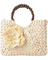 Women's Summer Straw Flower Bead Handmade Beach Shopper Tote Bag Handbag