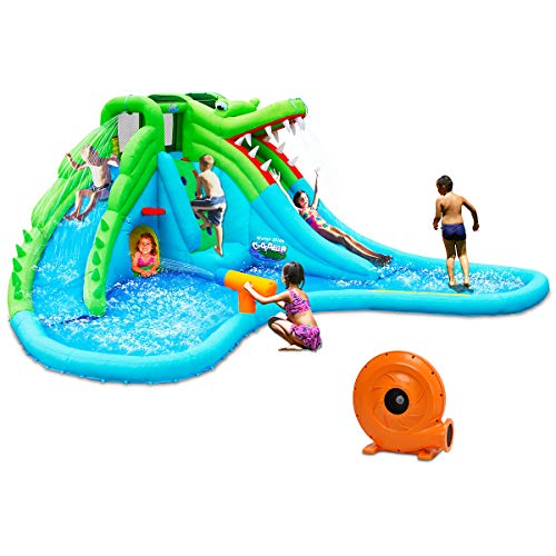 - Costzon Inflatable Pool Bouncer, Crocodile Themed Bounce House w/Two Water Slides, Climbing Wall, Basketball Rim, Tunnel, Kids Water Park, Including Carry Bag, Hose, Repair Kit, 780W Air Blower