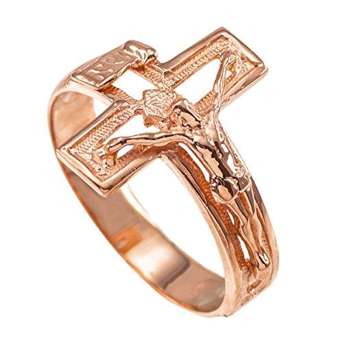 Solid 10k Rose Gold Open Design Cross Band Crucifix Ring (Size (Gold Rose Gold Crucifix)