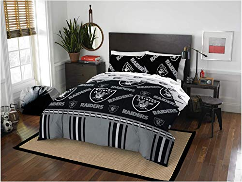 Oakland Raiders NFL Queen Comforter & Sheet Set (5 Piece Bed in A Bag) + Homemade Wax Melts