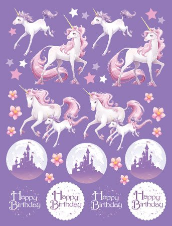 Happy Birthday Sticker Fantasy Einhorn 4 Bögen Mit Je