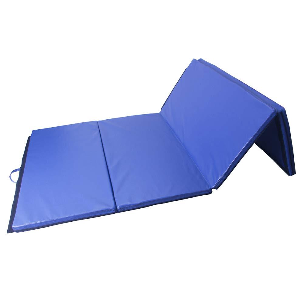 Polar Aurora 4'x10'x2 Thick Folding Gymnastics Exercise Mat Aerobics Stretching Yoga Mats (Blue) by Polar Aurora