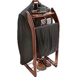 Smartek Mahogany Hardwood Clothes Valet Stand